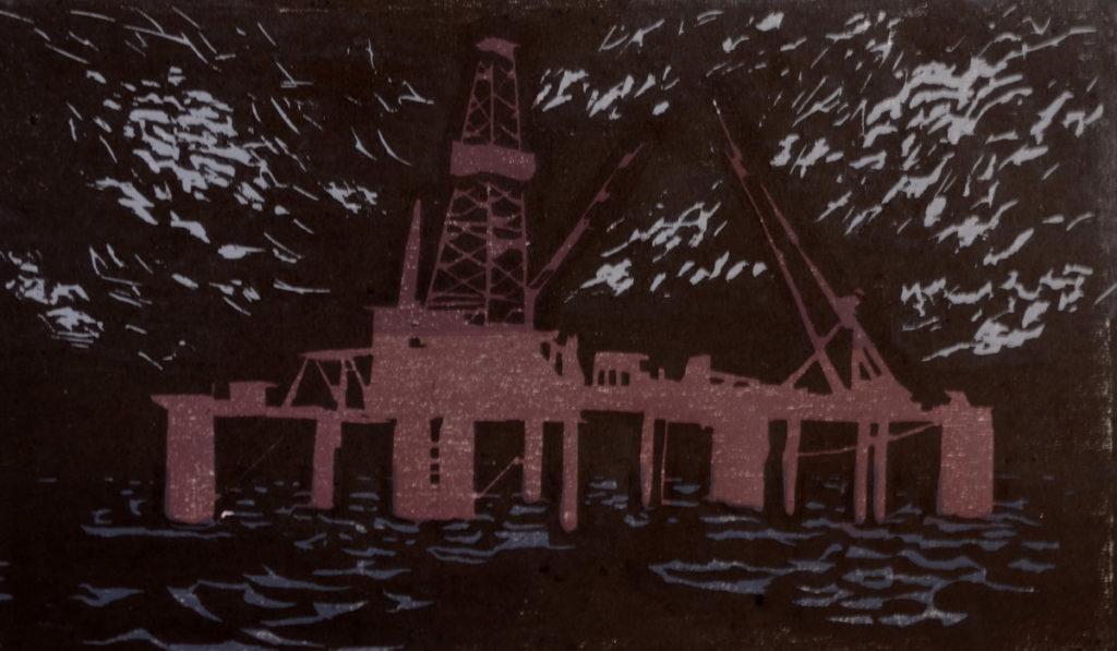 """""""Tirsdag 23/12 - 1969"""" Tresnitt 19 X 32 cm, kr 2.500,-"""